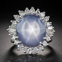 16 Carat Star Sapphire and Diamond Vintage Cocktail Ring