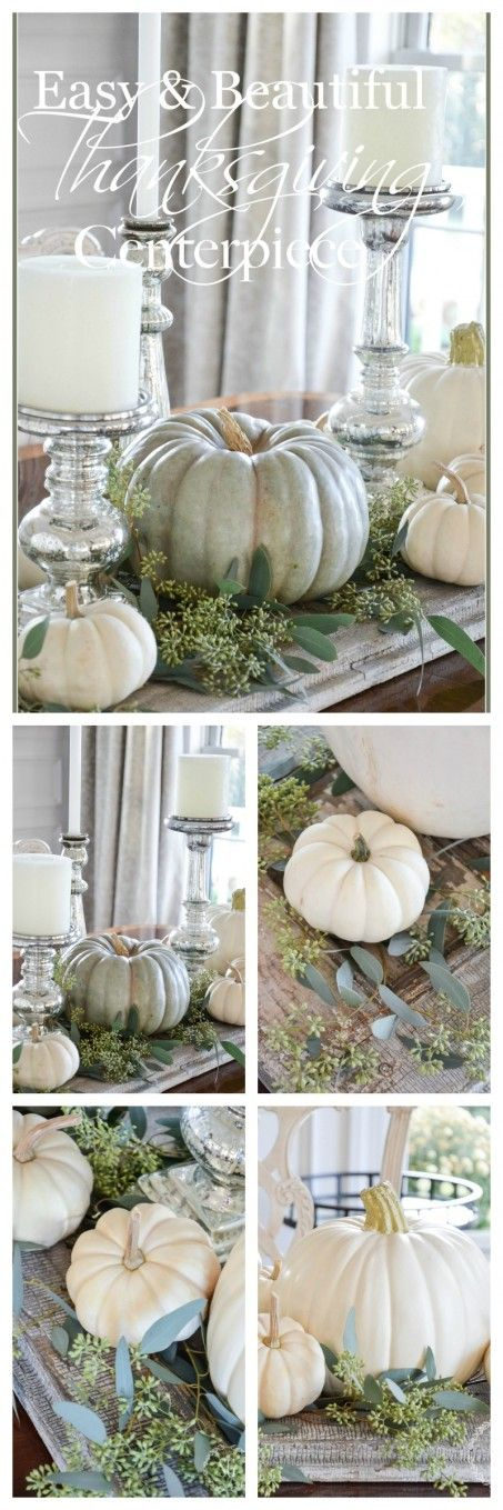 EASY THANKSGIVING CENTERPIECE-It's not hard to create a beautiful Thanksgiving centerpiece. Only 3 elements!