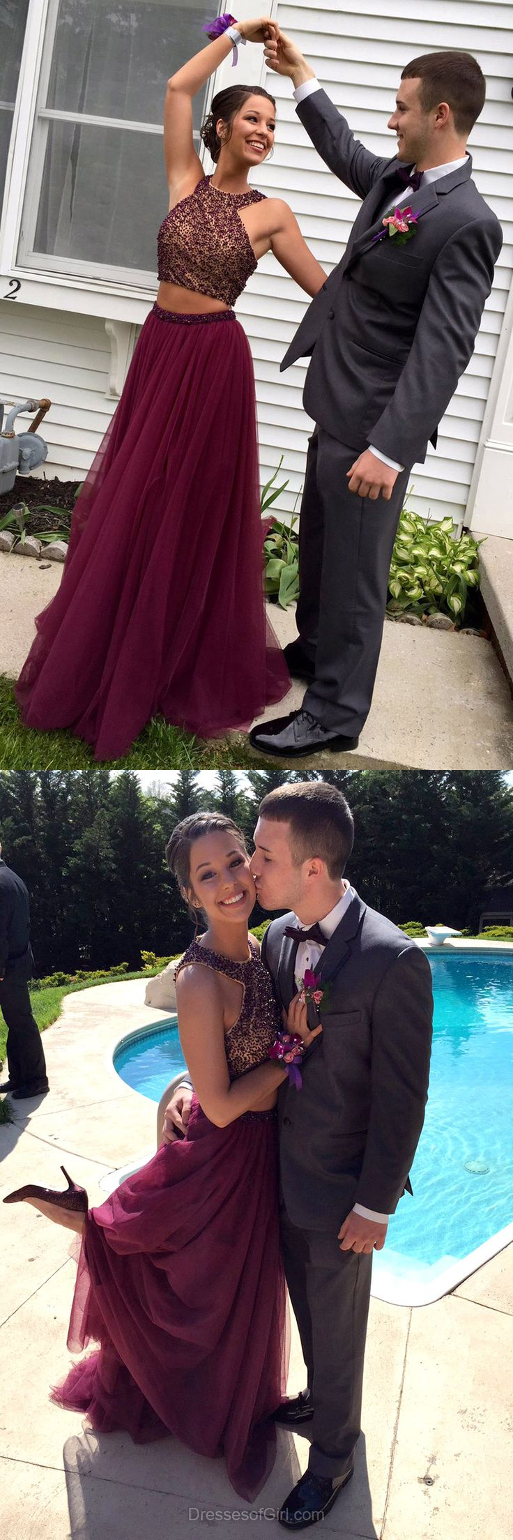 Girls A-line Scoop Neck Tulle Floor-length Beading Burgundy Two Piece Prom Dresses