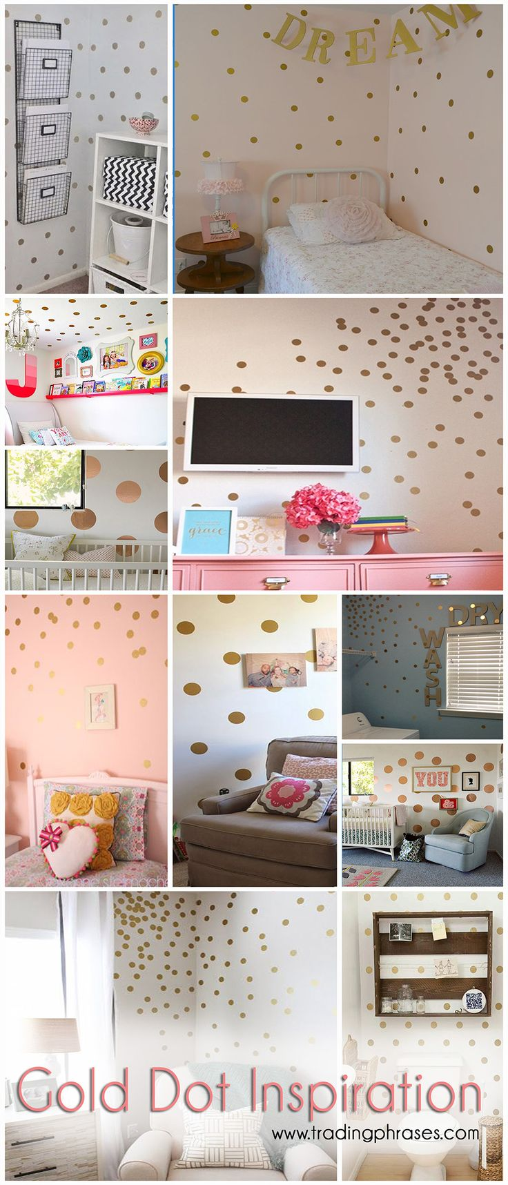 Adorable gold dots or confetti dot decals for walls and furniture. Love this idea!