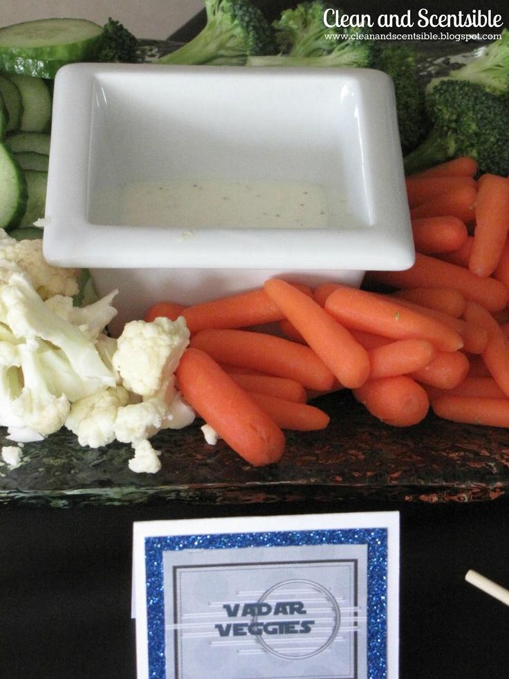 vader veggies: Food Recipes, Stars War Parties, Food Ideas, War Birthday, Star Wars Party, Vader Veggies, Parties Ideas, Vadar Veggies, Parties Food