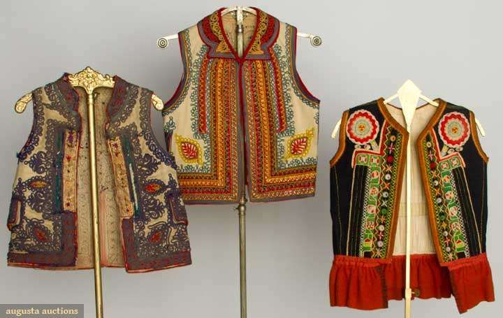 Three Embroidered Wool Folk Vests, 19th C, Augusta Auctions, November 13, 2013 - NYC, Lot 383