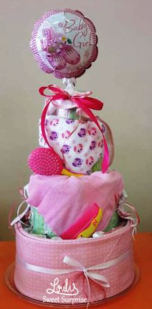 Diaper cake for girls #Loulis_Sweet_Surprise #Diaper_cake #Baby_shower