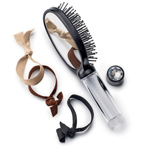 AVON 3-IN-1 TRAVEL BRUSH Perfect for glamming up on the go, this great brush features an ergonomic handle with a faux-jewel detail at the base. In unscrews to open a clear compartment that is perfect for your bobby pins, elastic bands and clips. It even comes with 3 elastic and fabric hair ties to get you started! It's ideal for your gym bag, pool or spa outing, and even for the glove compartment in the car! #avon #hairbrush #hairties #travel