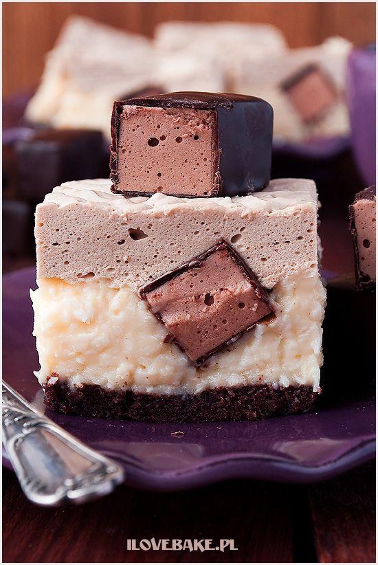 Ciasto z ptasim mleczkiem kapucynek - ilovebake.pl #recipes #cake #chocolate…