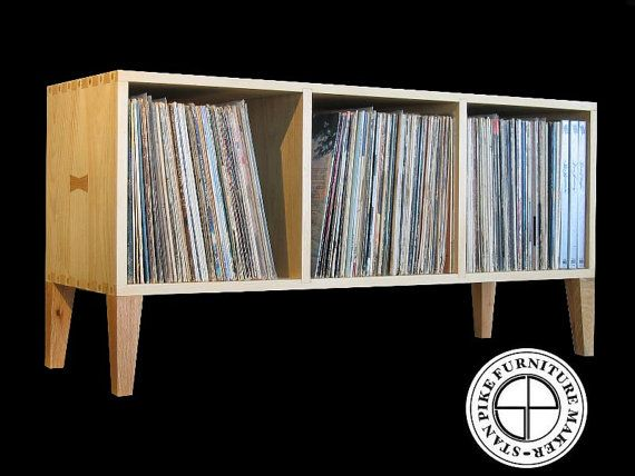 This handcrafted Horizontal Record Album Storage Unit is made of the finest quality #1 clear eastern pine and oak with hand cut dovetail joinery, by Stan Pike on Etsy.