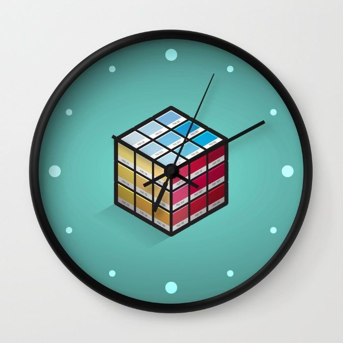 Pancube Wall Clock - Pantone, PMS, colour, colours, matching, swatch, swatches, Rubik's cube, game, puzzle, primary, red, yellow, blue, graphic design, designer, prepress, preflight, vector, art, design, illustration, cube, cubes, design, illusion
