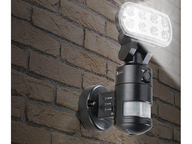 VisorTech LED Flutlicht mit nachlaufender SD Überwachungskamera