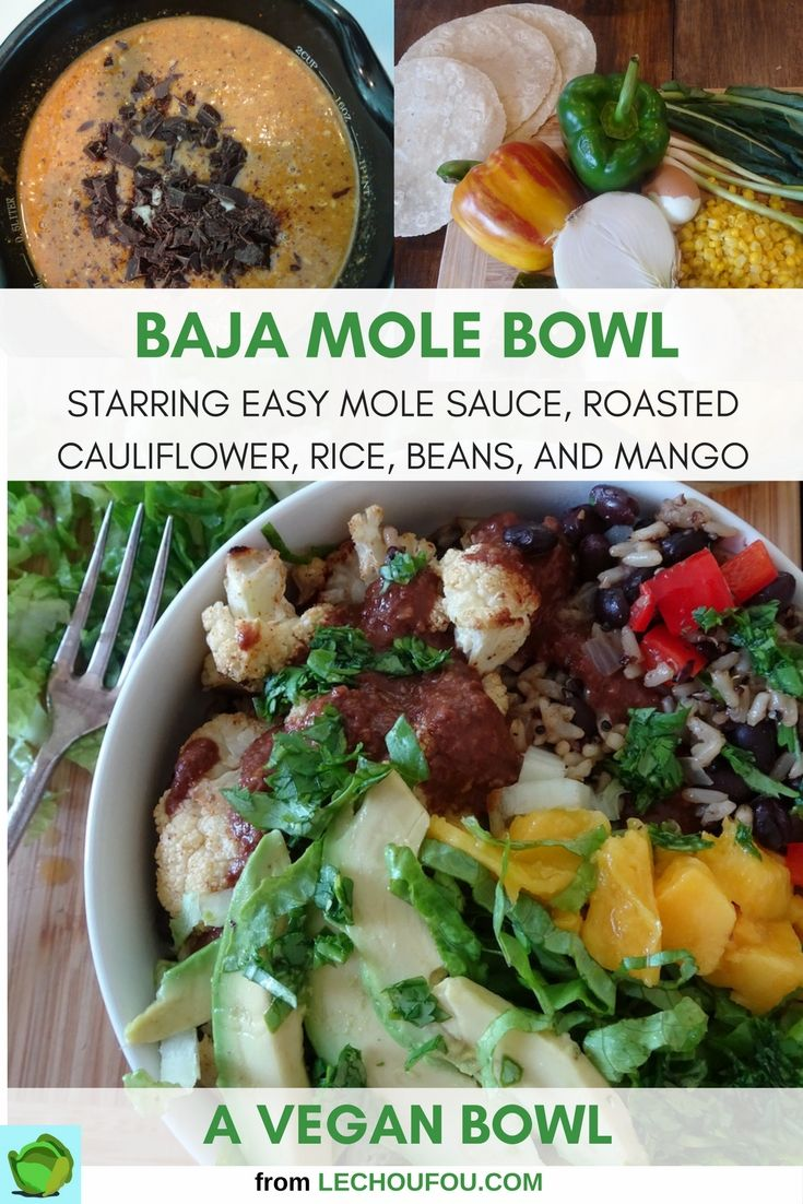 Homemade mole sauce adds dark chocolate depth to rice, beans, and roasted cauliflower in this fresh tasting vegan mole bowl. Easy to adapt to your tastes.