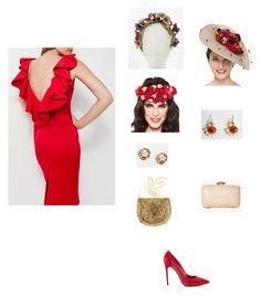 vestido rojo para invitadas a boda, zapatos al tono y bolso dorado con pendientes dorados y diadema de flores; o bolso nude con pamela y pendientes rojos