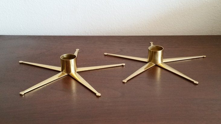 Modernist Ystad Metall Brass Star Candlesticks
