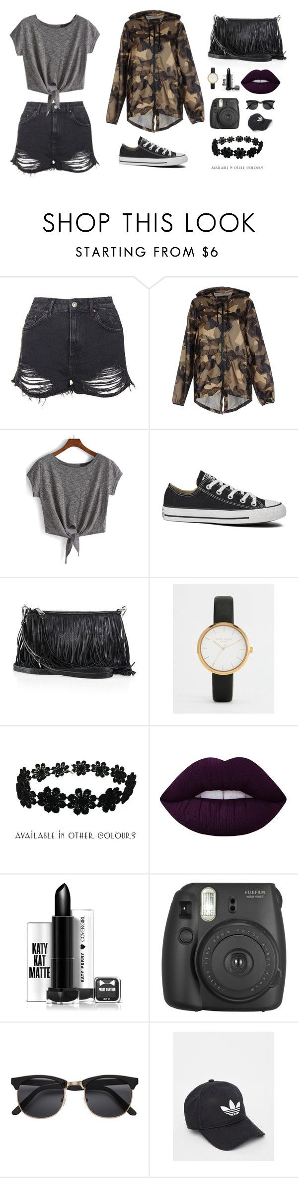 """""""Untitled #4"""" by cristine-nguyenmy ❤ liked on Polyvore featuring Topshop, Fifteen And Half, Converse, Rebecca Minkoff, Daisy Dixon, Zara Taylor, Lime Crime and adidas"""