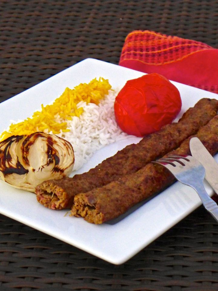 "Chelo kabab literally means ""white rice with kebab"". This ground beef version of kebab with onions and saffron is called koobideh."