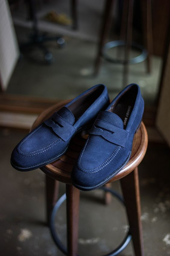 New Handmade Mens Blue Suede SlipOns, Men moccasins, Men Real Leather Shoes - Casual #MensFashionBoots