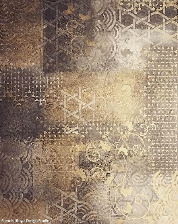 Layering Pattern With Stencil Art Decorative Painting