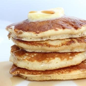 "Top o' the mornin to ya. [Photograph: Yvonne Ruperti] These fluffy, tender, and boozy pancakes give real meaning to ""top o' the mornin to ya"". Notes: Cake flour can get easily packed if you measure with a cup. For best results, scale out the flour or gent"
