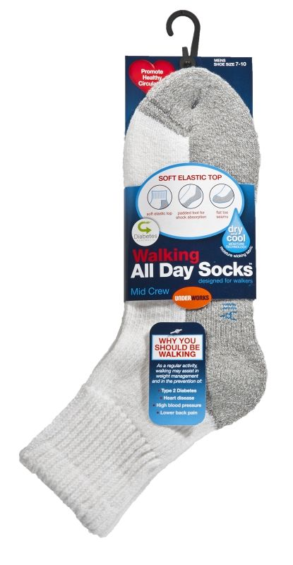 Socks - Mens all day white diabetic, walking, padded (3 pr), Assistive Style $25
