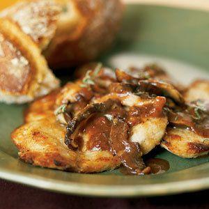 Veal Escalopes with Mushrooms   MyRecipes.com