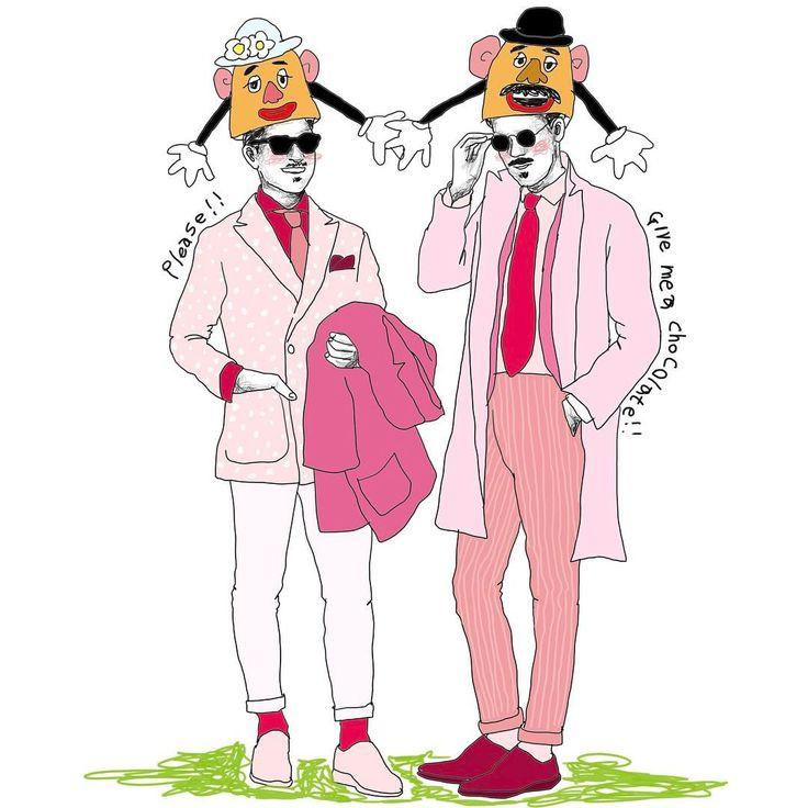バレンタインぽく おじさんシリーズも混ぜて #イラスト#イラストレーター#art#illustration#デザイン#カップル#夫婦#love#ディズニーランド#ディズニー#Disney#スーツ#men's#ポテトヘッド#バレンタイン ピンクの似合うおじさんってステキだよね。 もしも息子が産まれたら真っ先にピンクを着せたい。