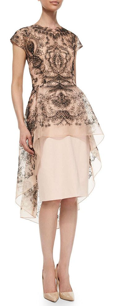 LELA ROSE Embroidered lace peplum dress found on Nudevotion