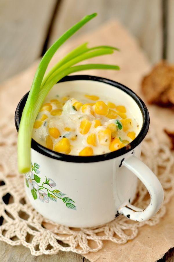Soupe de maïs (j'enlèverais la crème, que je remplacerais en partie par du lait pour alléger un peu)