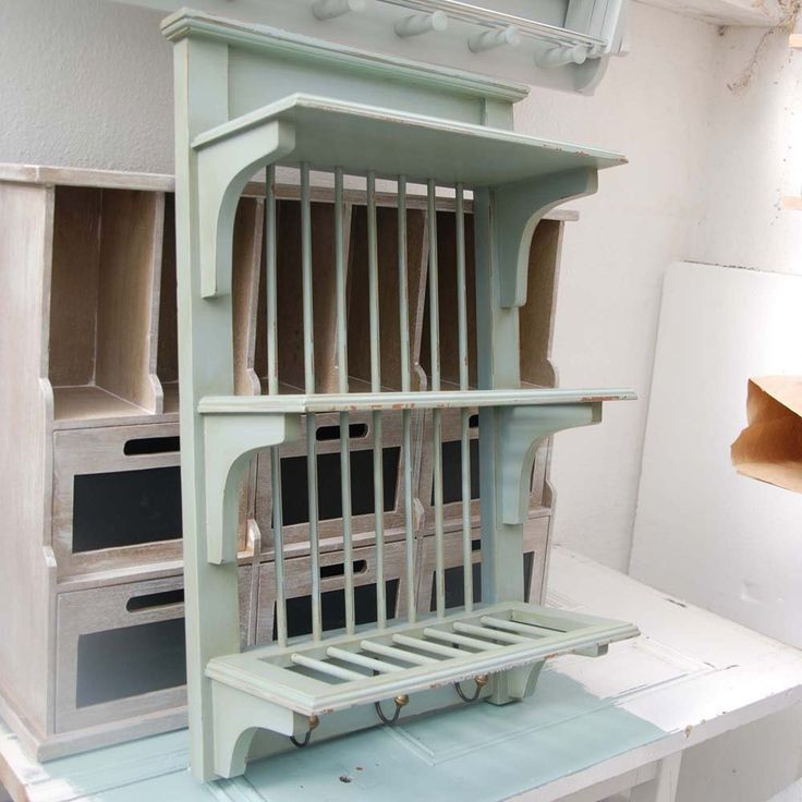 Blue Wooden Plate Rack - Wall Mounted Height 82 cm, Width 48 cm, Depth 23 cm £130 out of stock