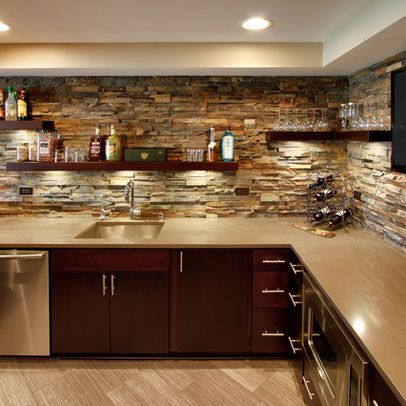 basement bar design idea remove those upper cabinets and do stone with shelves