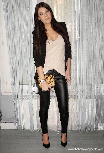 Skinny shinning black jeans, leopard bag and black blazer collection | Fashion World