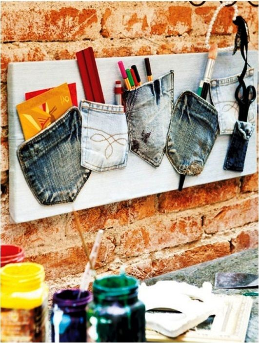 diy recycle old jeans ideas pockets organization wall home office
