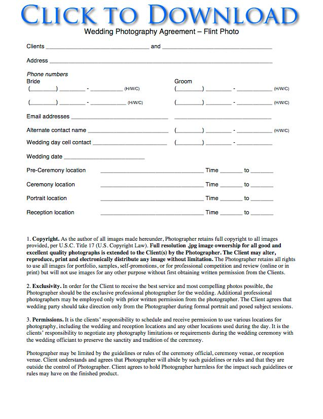 free wedding photography contract forms flint photo wedding and event photography