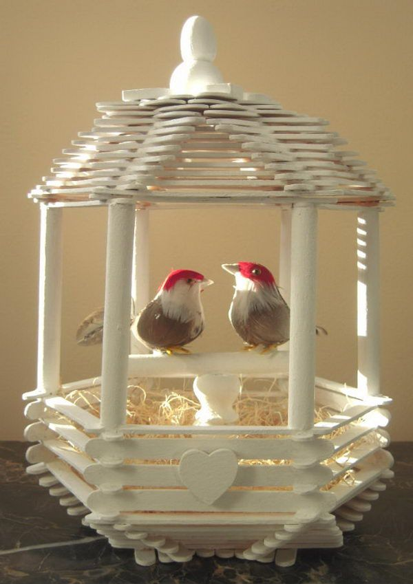14 love bird popsicle stick house  cute roof idea