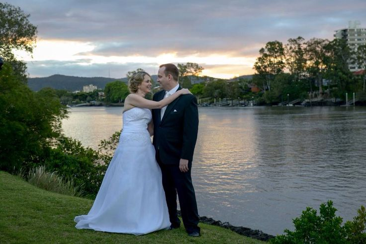 River backdrop makes a beautiful photo for our bridal couples