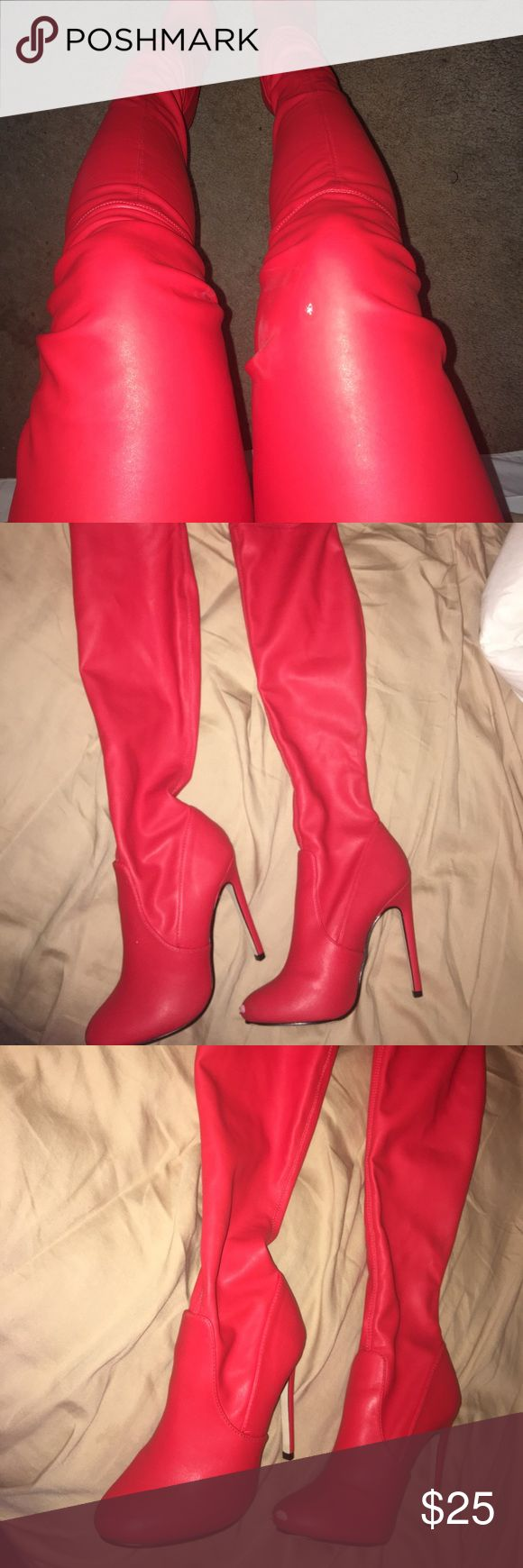 Misguided red thigh high motor boots Get the look!!! With these fire red thigh high motor boots. These shoes are a guaranteed look and will definitely have all eyes on you. (Worn a few times and scuffed at the tip on one of the shoes) Missguided Shoes Over the Knee Boots