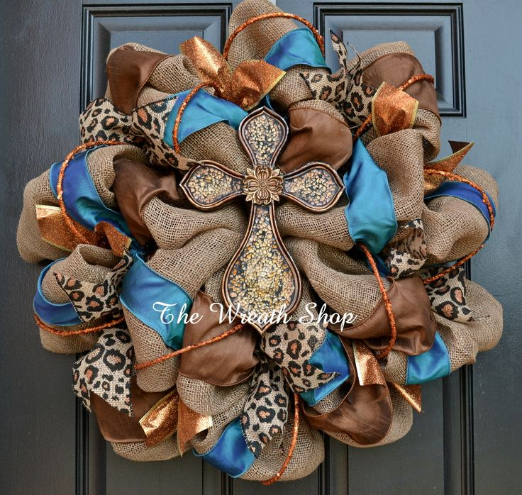 Burlap And Teal Cross Wreath With Copper Leopard Print Ribbon