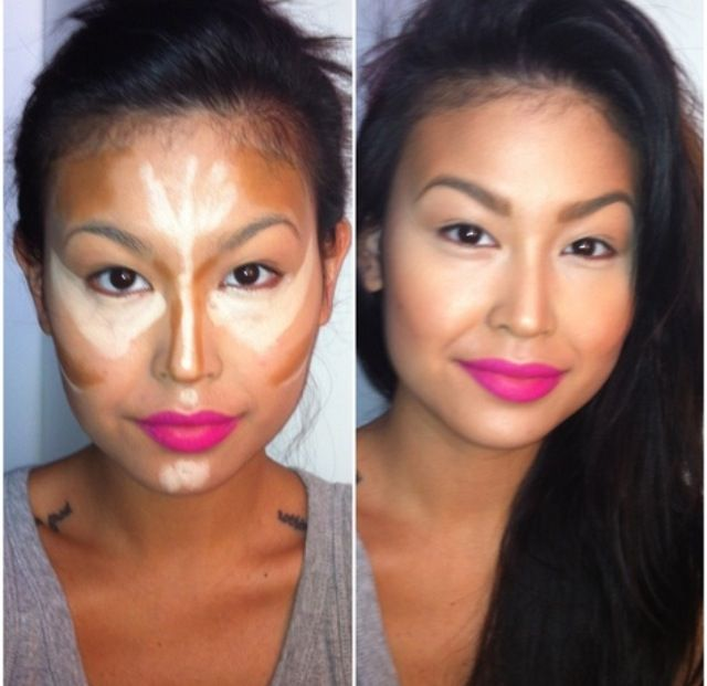 .Oval face contouring pattern