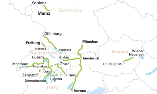 Map scenic train routes in Germany, Switzerland, Italy and Austria