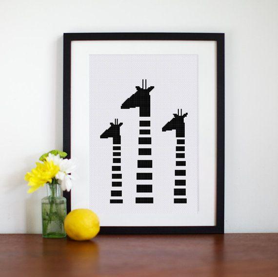 Black White Giraffes cross stitch pattern| Minimalist silhouette baby animal counted chart| Nursery cute funny design| Easy beginner pdf