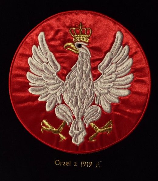 Polski orzeł z 1919 r. haft na sztandar. AHA STUDIO