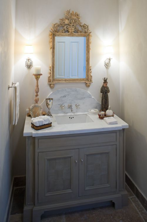 Like square sink marble top curved backsplash sconces for Powder bathroom vanities