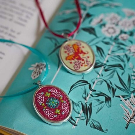 Cross stitch a pair of pretty pendants – free charts to download!