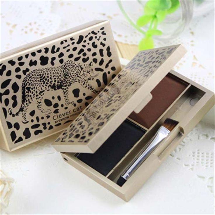 2 Farben Make-Up Kit Augenbraue Pulver Natürliche Schattierung Palette Lidschatten Mit Pinsel