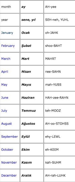 months in Turkish