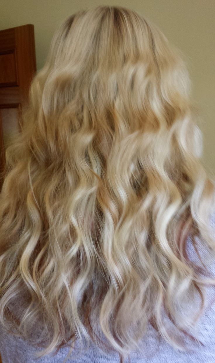 """16"""" pre bonded Hair Extensions, blonde shades with a couple of warm dark tones."""