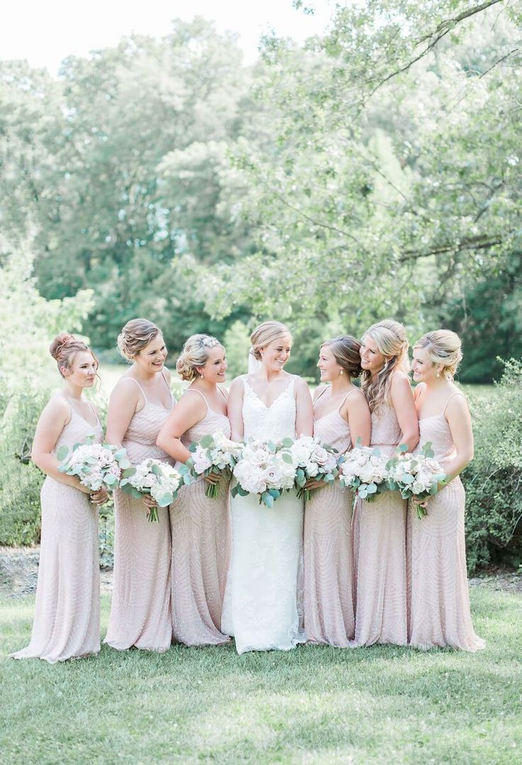 Neutral blush bridesmaids style
