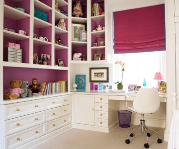 dream office: Colors Combos, Bookshelves In The Bedrooms, Decor Small Spaces, Crafts Rooms, Built In Shelves Kids Rooms, Builtin, Rooms Ideas, Savvy Storage, Girls Rooms