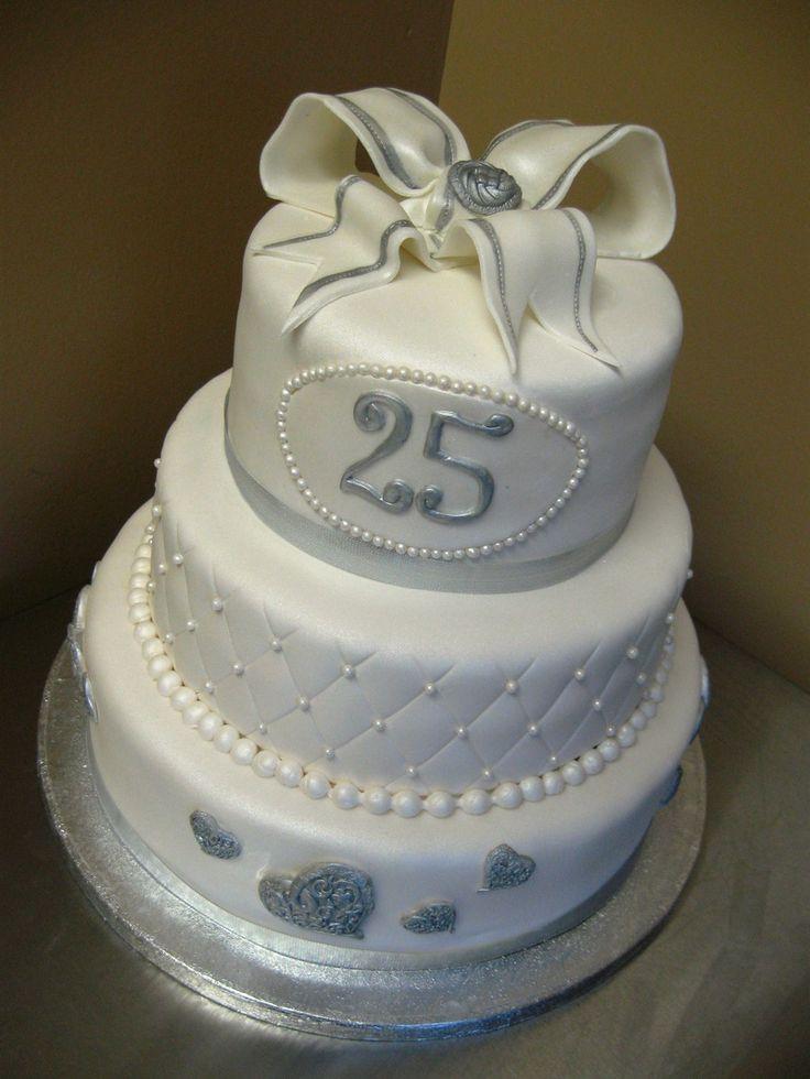 Anniversary Silver Wedding Sweet Decoration Cake Idea 8