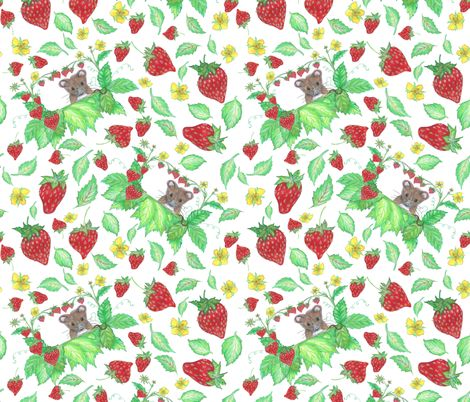 squeeky strawberry fabric by rosy_lees on Spoonflower - custom fabric