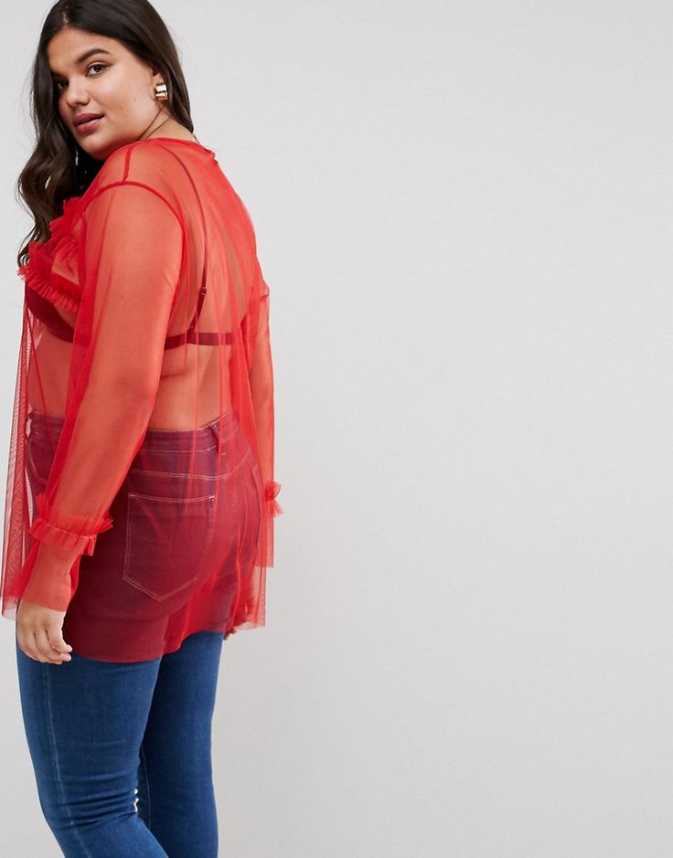 ASOS CURVE Top in Mesh with Ruffle Front - Red