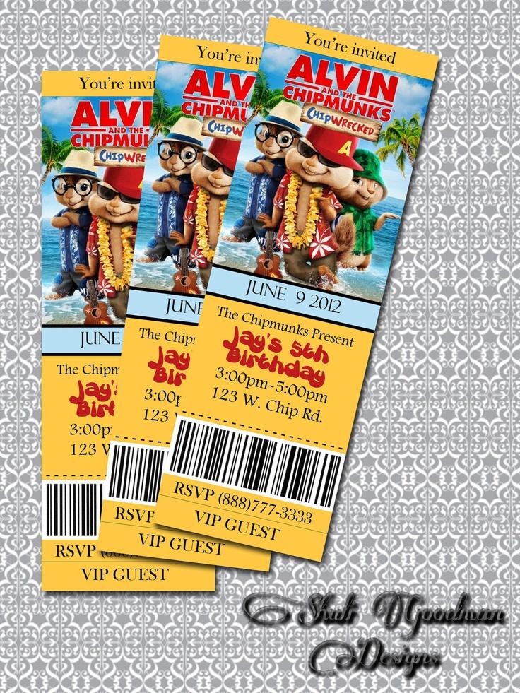 Alvin and the Chipmunks: Chip-Wrecked Printable movie ticket Birthday Invitation (SGD0047)