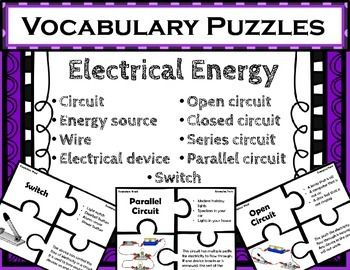 Electrical Energy Vocabulary Puzzles. Use these puzzles to provide quick and fun matching practice with electrical energy vocabulary. Each puzzle includes 4 pieces: vocabulary word, examples/facts, illustration, and definition. This is a different take on a standard Frayer Model.